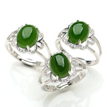 Natural jade ring silver nephrite ring wholesale