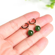 Natural jade earrings silver nephrite earrings wholesale
