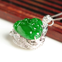 Natural jade pendant jadeite gold Buddha pendant necklace