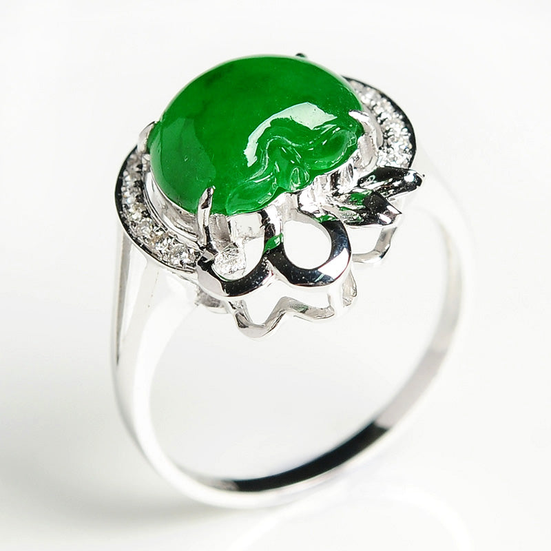 Natural jade ring gold jadeite ring apple ring