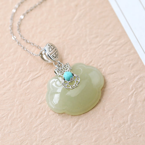 Natural Jade Pendant Nephrite Turquoise Silver Pendant
