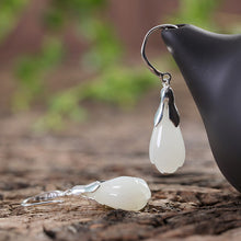 Natural Jade Earrings Nephrite Silver Earrings