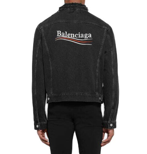 BALENCIAGA POLITICAL LOGO DISTRESSED DENIM JACKET