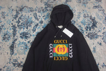 GUCCI PRINTED LOOPBACK COTTON-JERSEY HOODIE(2 COLORS,BLACK/WHITE)