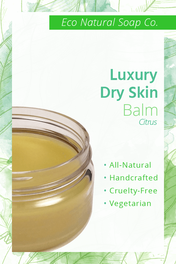 Pinterest graphic for Eco Natural Soap Co.'s Luxury Dry Skin Balm.