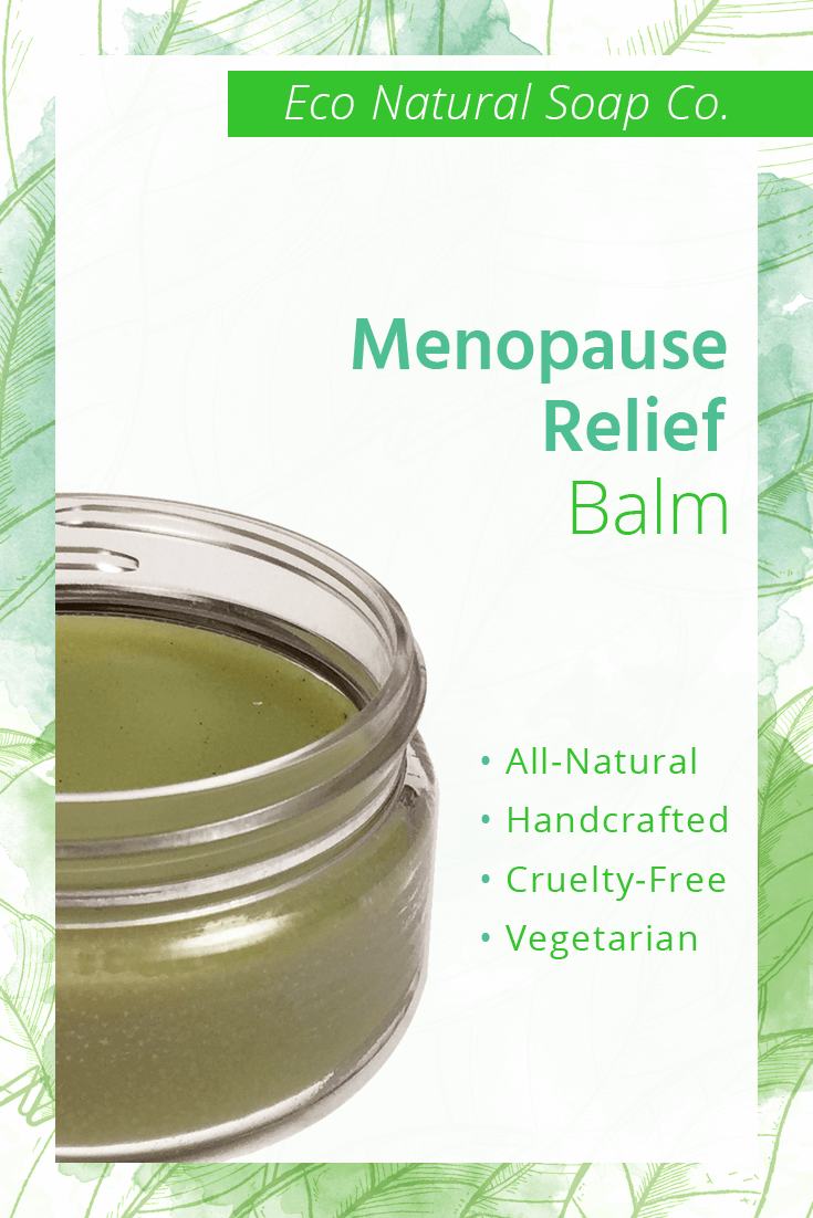 Pinterest graphic for Eco Natural Soap Co.'s Menopause Relief Balm.