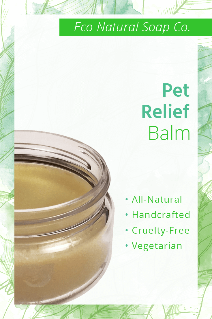 Pinterest graphic for Eco Natural Soap Co.'s Pet Relief Balm.