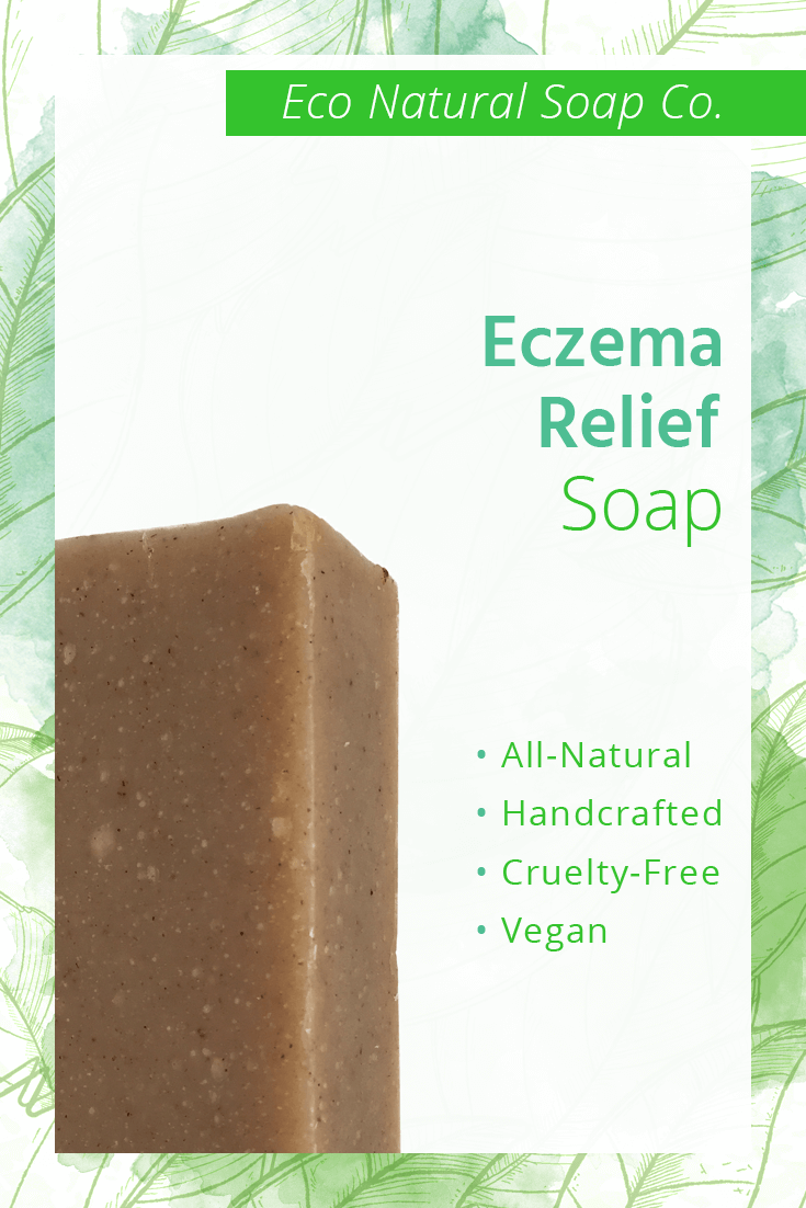 Pinterest graphic for Eco Natural Soap Co.'s Eczema Relief Soap.