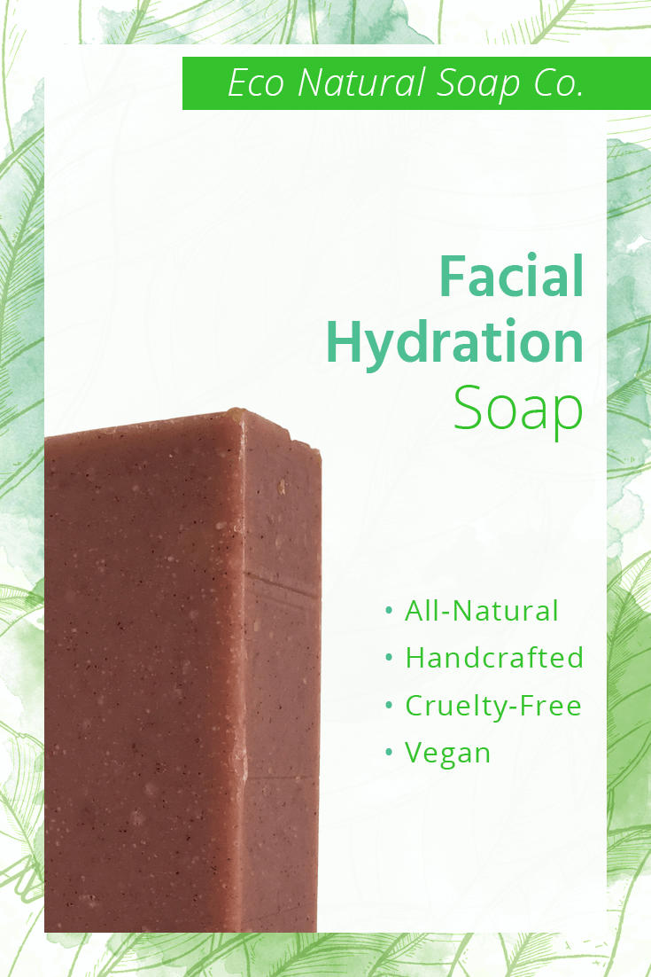 Pinterest graphic for Eco Natural Soap Co.'s Facial Hydration Soap.