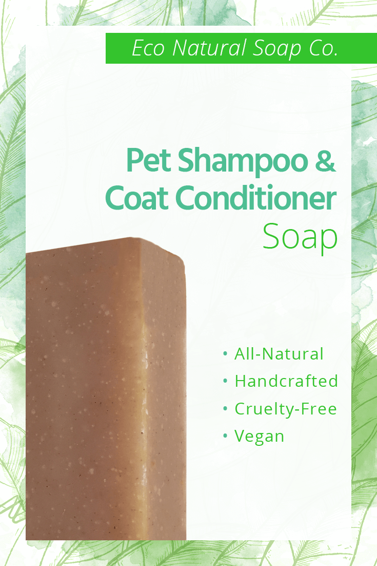 Pinterest graphic for Eco Natural Soap Co.'s Pet Relief Shampoo and Coat Conditioner Soap.