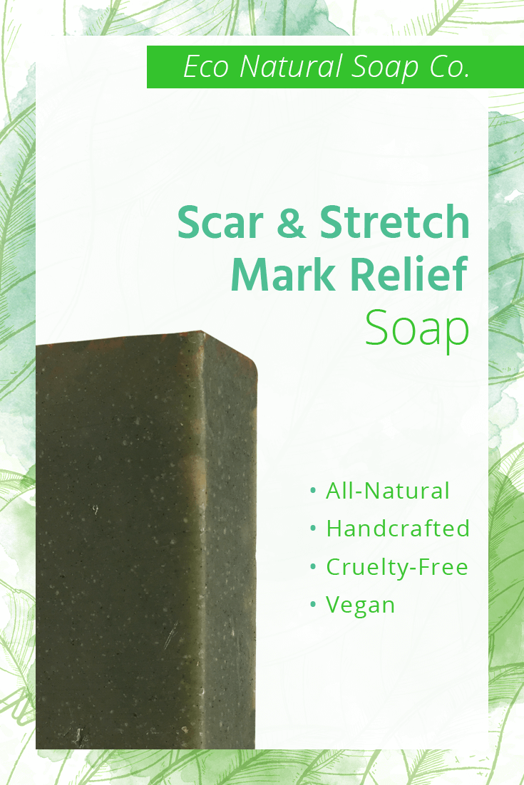 Pinterest graphic for Eco Natural Soap Co.'s Scar and Stretch Mark Relief Soap.