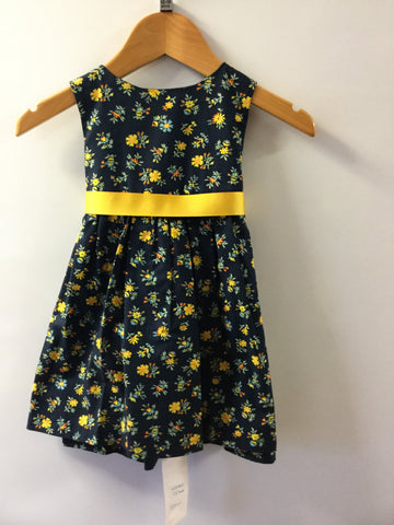 Navy with yellows flowers girl's dress