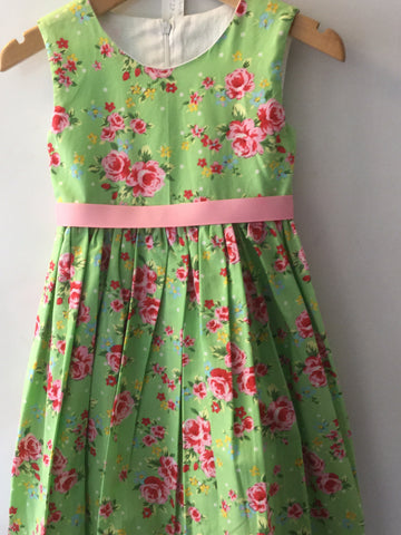 Green with pink roses girl's dress