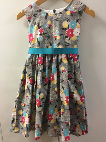 Grey with pink/blue and yellow flowers girl's dress