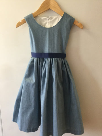 Navy and white thin stripe girl's dress