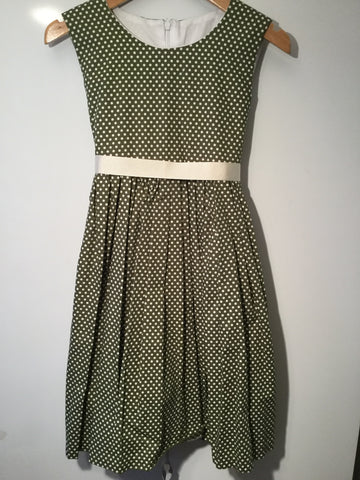 Vintage sage green with cream spots girl's dress
