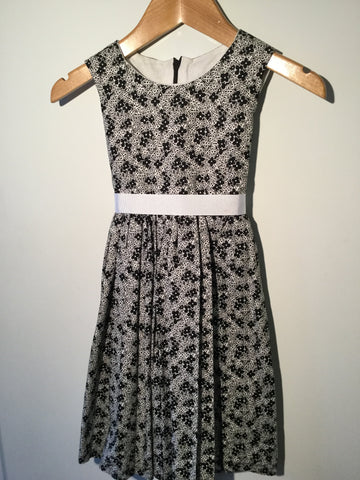 Girl's Black & White Flower Dress