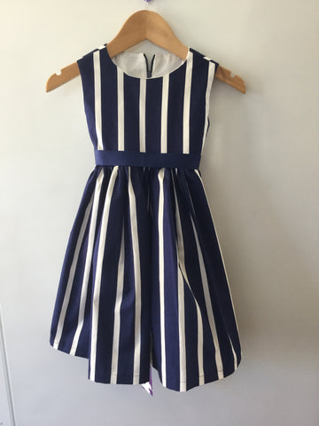 Navy and white stripes girl's dress
