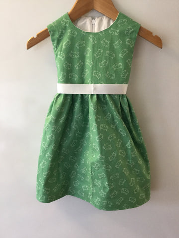 Green cats - Girls dress