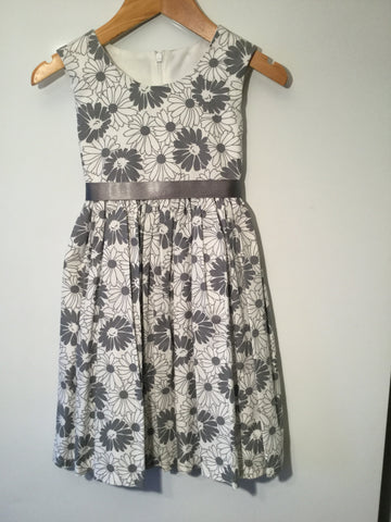 White and grey daisy girl's dress