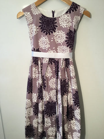 Crushed blackberry with flowers girl's dress