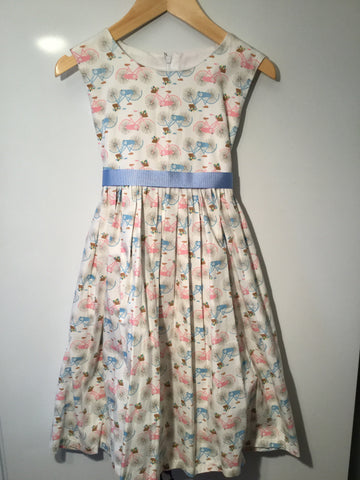 Cream with pink/blue bicycles girl's dress