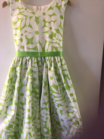 Green and white large Daisy girl's dress