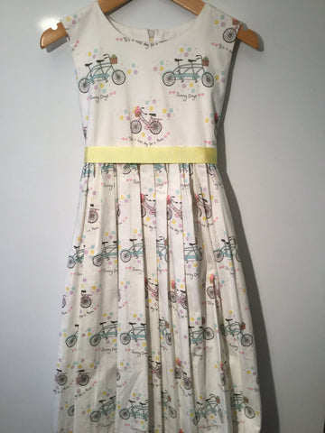 Cream with mint/pink bicycles girl's dress