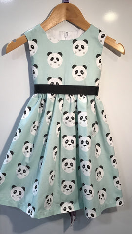 Panda faces, mint green dress girls dress