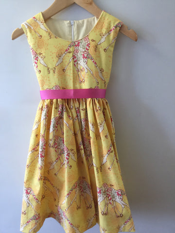 Yellow giraffe girl's dress