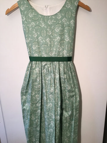 Green with leaves girl's dress