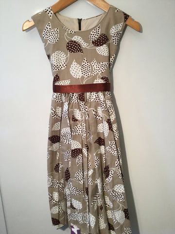 Taupe with leaf pattern girl's dress