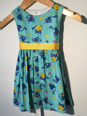 Turquoise blue with cats girl's dress