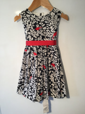 Black with red birds girl's dress