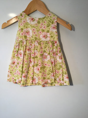 Light green with pink flowers girl's dress