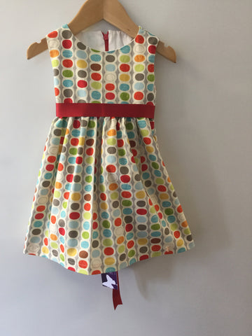 Grey with multi coloured ovals girl's dress