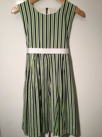 Navy, green and white stripes girl's dress