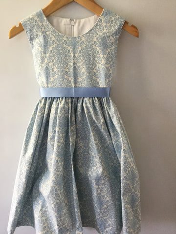 White with pale blue paisley thistle girl's dress