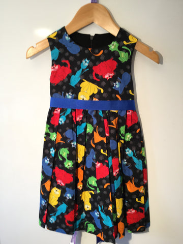 Black with multi coloured cats girl's dress
