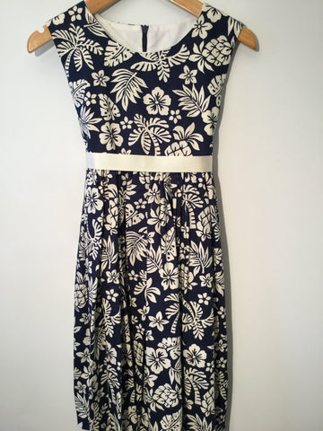 Navy with Hawaiian flowers girl's dress