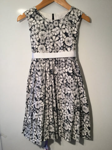 Charcoal Hawaiian flowers girl's dress