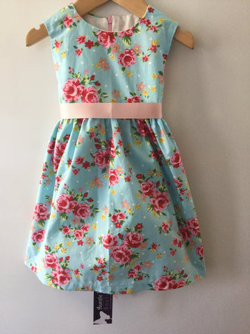 Girl's Vintage Rose Baby Blue Dress