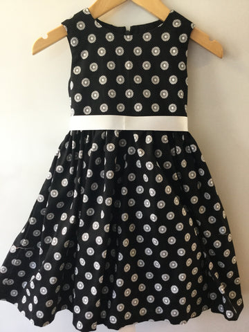 Black with white Daisy girl's dress