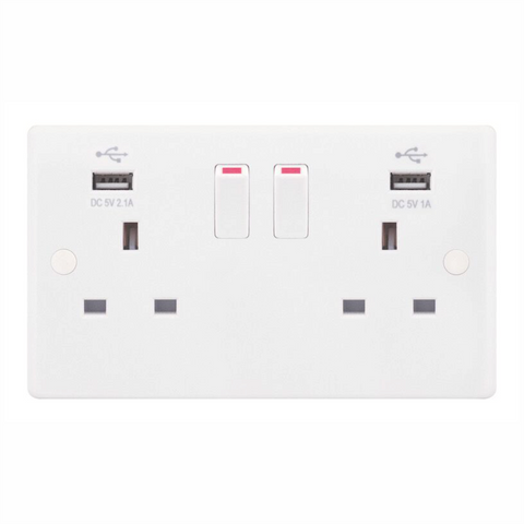 TWIN SWITCHED SOCKET WITH USB PORTS