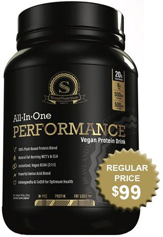 Stout Nutrition All-In-One Performance Vegan Protein Drink, Vanilla Bean [3.075 Lb. Container]