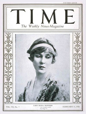 Lady Diana Cooper Time Magazine 1926