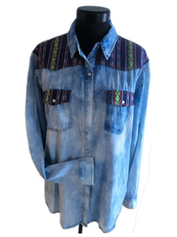 chemise denim western country femme manche longue southwest forever 21