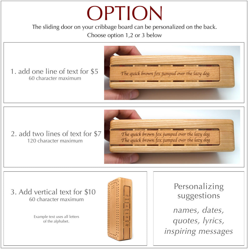 personalize cribbage board sliding door