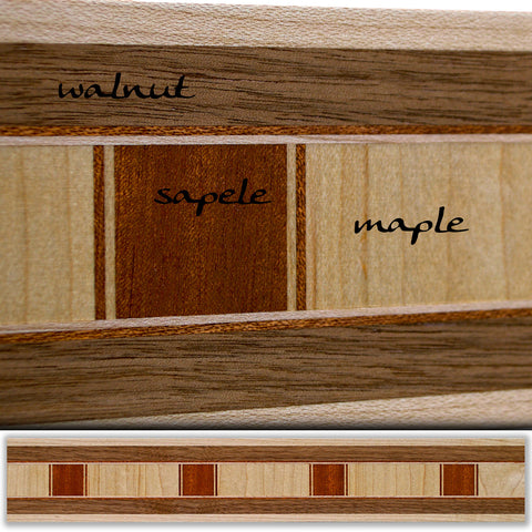Inlay 1046 Walnut, Maple, Sapele