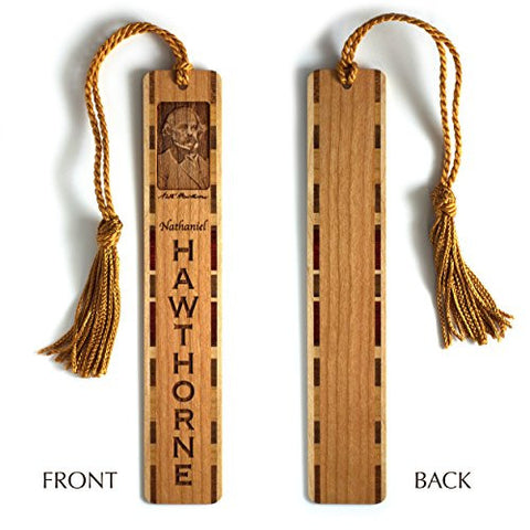 Nathaniel Hawthorne Engraved Wooden Bookmark with Copper Rope Tassel